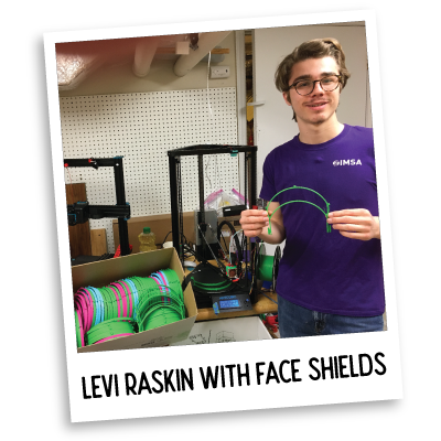 Levi Raskin with Face Shields